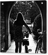 Silhouette Of College Co-ed Walking Her Acrylic Print