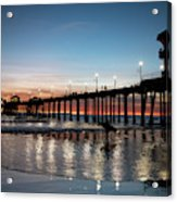 Silhouette Of Surfer At Huntington Acrylic Print