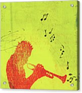 Silhouette Of Trumpet Player Acrylic Print