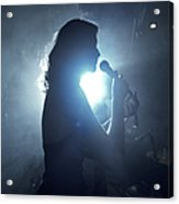 Silhouette Of Woman Using Microphone Acrylic Print