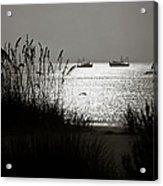 Silhouettes Of Sea Oats And Shrimp Boats Acrylic Print