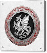 Silver Winged Norse Dragon - Icelandic Viking Landvaettir On Black And Silver Medallion Over White L Acrylic Print