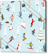 Ski Resort Seamless Pattern With Acrylic Print