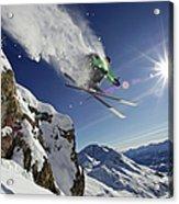 Skier In Midair On Snowy Mountain Acrylic Print