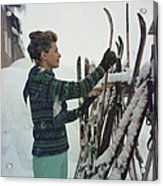 Skiing Princess Acrylic Print