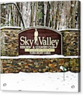 Sky Valley Georgia Welcome Sign In The Snow Acrylic Print