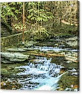 Small Waterfall In Creek And Stone Stairs Acrylic Print