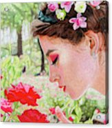 Smelling The Roses Acrylic Print
