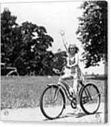 Smiling Girl Wearing A Jumper Short Set Acrylic Print