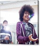 Smiling Teenage Boy Talking Acrylic Print