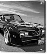 Smokey And The Bandit Trans Am In Mono Acrylic Print
