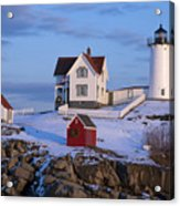 Snow Covered Lighthouse During Holiday Acrylic Print