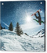 Snowboarder Doing A Backflip With Snow Acrylic Print