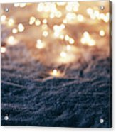 Snowy Winter Background With Fairy Lights. Acrylic Print