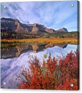 Sofa Mountain Reflecteion, Waterton Acrylic Print