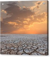 Soil Drought Cracked Landscape Sunset Acrylic Print