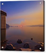 South Holston By Moon And Firelight Acrylic Print