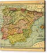 Spain & Portugal Vintage Map Acrylic Print