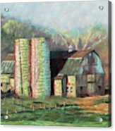 Spring On The Farm - Old Barn With Two Silos Acrylic Print
