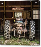 Square Format Old Tractor In The Barn Vermont Acrylic Print