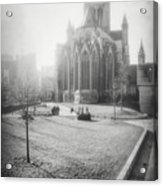 St Nicholas Church Ghent Belgium Black And White Acrylic Print