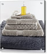 Stacks Of Folded Towels With A Bar Of Acrylic Print