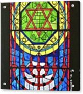 Star Of David Stained Glass Acrylic Print