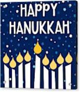 Starry Night Hanukkah Menorah- Art By Linda Woods Acrylic Print