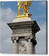 Statue, Alexandre 3 Bridge In Paris Acrylic Print
