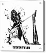 Steven Tyler Microphone Aerosmith Black And White Watercolor 02 Acrylic Print