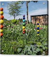 Sticks With Colorful Balls In A Garden Acrylic Print
