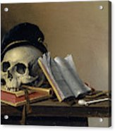 Still Life With Skull, Books, Flute And Pipe Acrylic Print
