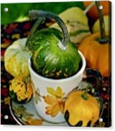 Still Live With Autumn Coffee Cup And Gourds Acrylic Print