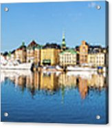 Stockholm Old City Fantastic Golden Hour Sunrise Reflection In The Baltic Sea Acrylic Print
