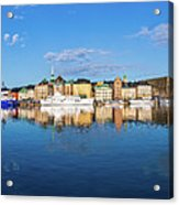 Stockholm Old City Sunrise Reflection In The Baltic Sea Acrylic Print