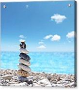 Stone Balance On Beach Acrylic Print