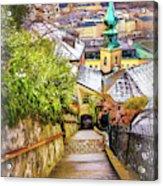 Stone Steps Of Kapuzinerberg Salzburg In Winter Acrylic Print