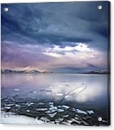 Storm Clouds Clearing Over Icy Lake Acrylic Print