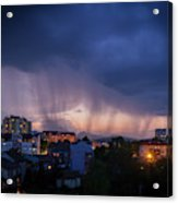 Stormy Weather Over The Small Town Acrylic Print