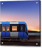 Subway Train In Profile Crossing Bridge Acrylic Print