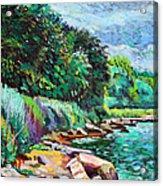 Summer Shore Of Hudson River, New York Acrylic Print