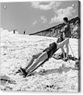 Sunbathing Skier Acrylic Print