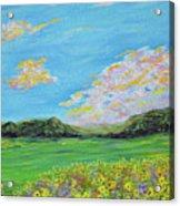 sunflower valley- Sunflower Art-Impressionism painting Acrylic Print