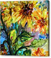 Sunflowers Summer Flowers Mixed Media Acrylic Print