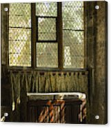sunlight on linen fold altar in Trinity church York Acrylic Print