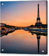 Sunrise At The Eiffel Tower, Paris Acrylic Print