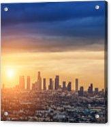 Sunrise Over Los Angeles City Skyline Acrylic Print