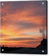 Sunset 0ver White Dome Geyser Acrylic Print