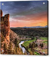 Sunset At Smith Rock State Park In Acrylic Print