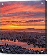 Sunset Explosion Over Lake Merritt Acrylic Print